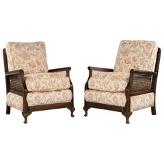 Attractive Late 20th Century Pair of Mahogany and Canework Chairs