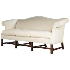 Attractive Mahogany Framed Camelback Sofa in the Manner of Thomas Chippendale