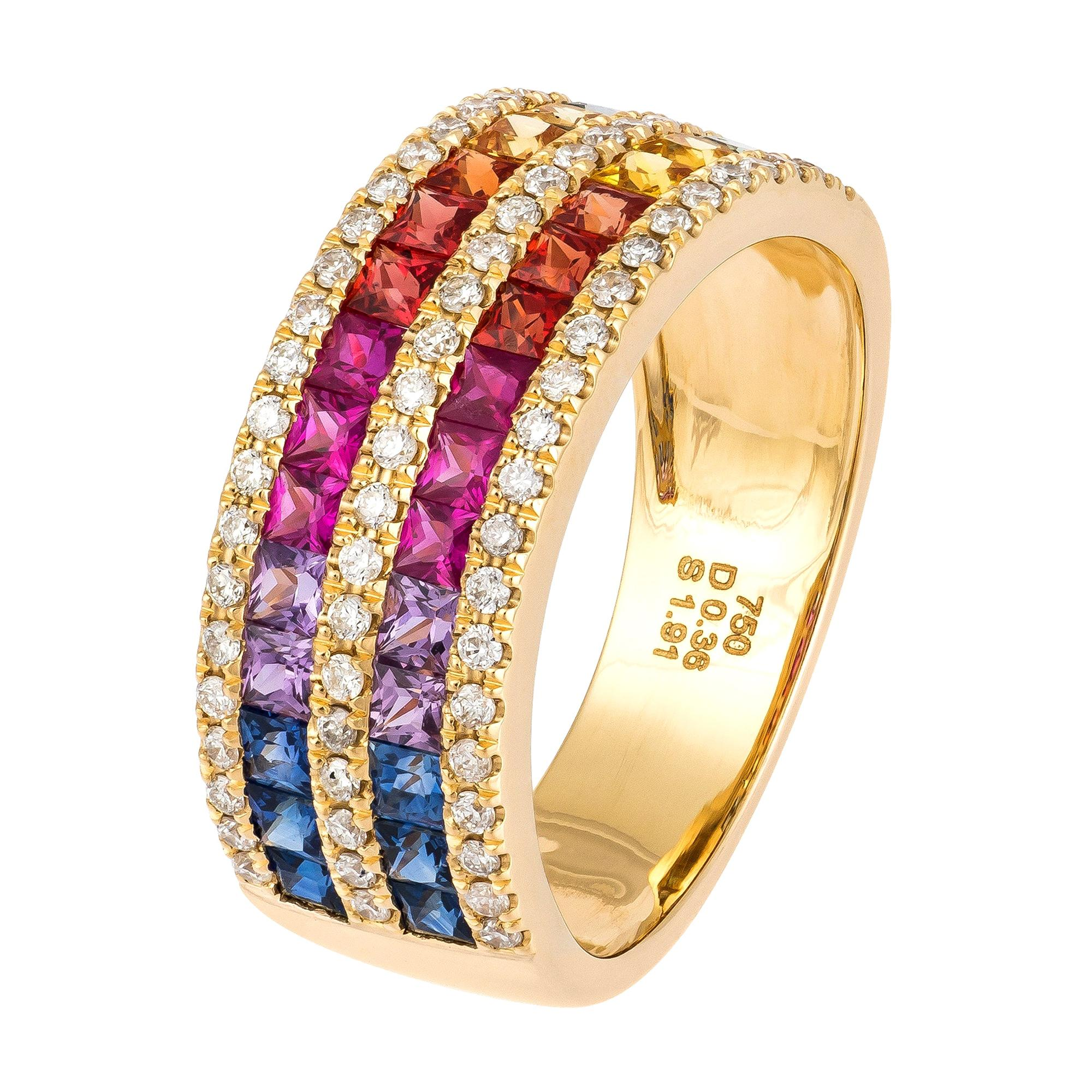Attractive Multisapphire Diamond Rose Gold 18K Ring for Her