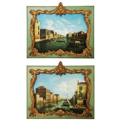 Attractive Pair of Large Oil Painted & Framed Overdoors/Paintings, Italy