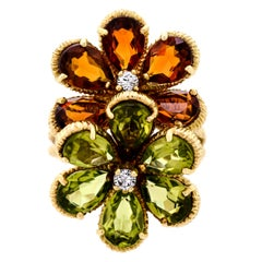 Attractive Peridot, Citrine and Diamond Flower Women's Ring