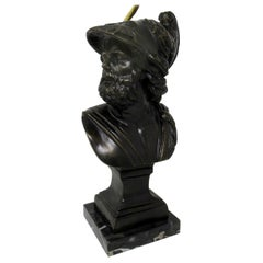 Attrib Benedetto Boschetti Bronze Male Bust of Ajax Greek Lamp Mythological Hero