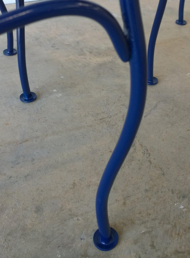 John Salterini Attributed Wrought Iron Enameled in Blue Patio/Garden Stools Pair For Sale 4