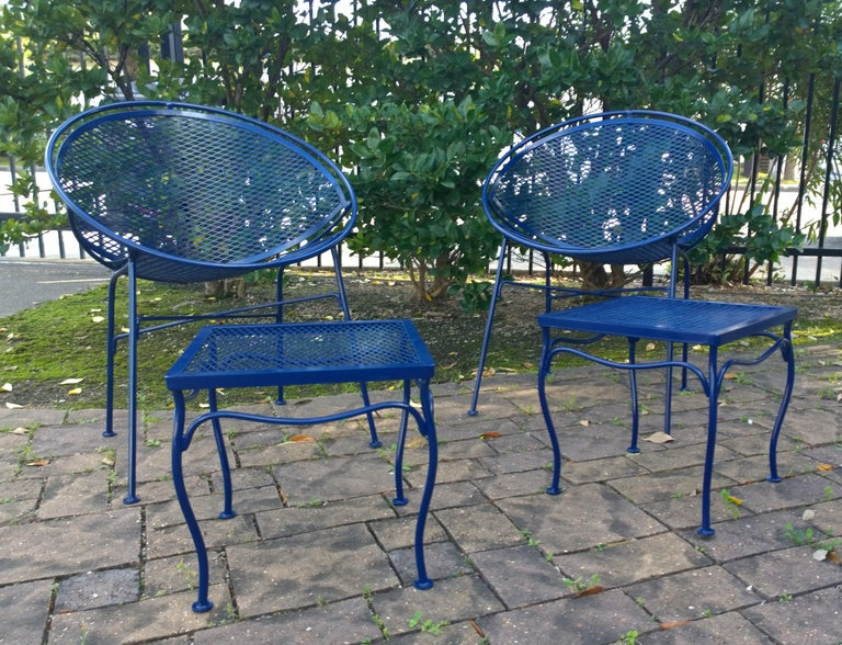 John Salterini Attributed Wrought Iron Enameled in Blue Patio/Garden Stools Pair For Sale 8