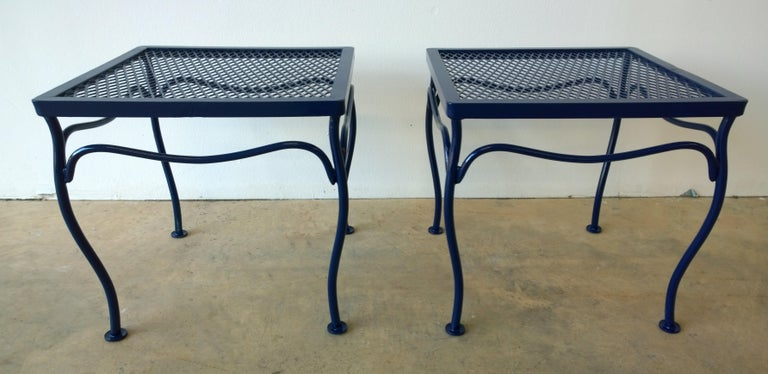 Offered are a pair of John Salterini attributed Mid-Century Modern wrought iron newly enameled in Classic Blue patio / garden stool. These nice little foot or drinks stools work well with several Salterini chairs that can be viewed on the MrsPK&OZ
