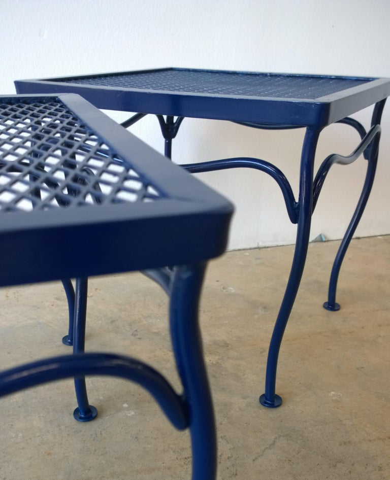 American John Salterini Attributed Wrought Iron Enameled in Blue Patio/Garden Stools Pair For Sale