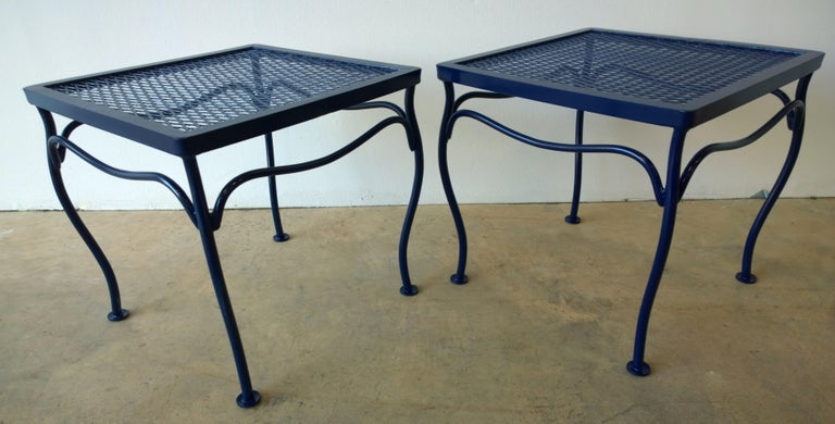 John Salterini Attributed Wrought Iron Enameled in Blue Patio/Garden Stools Pair In Good Condition For Sale In Houston, TX