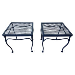 John Salterini Attributed Wrought Iron Enameled in Blue Patio/Garden Stools Pair