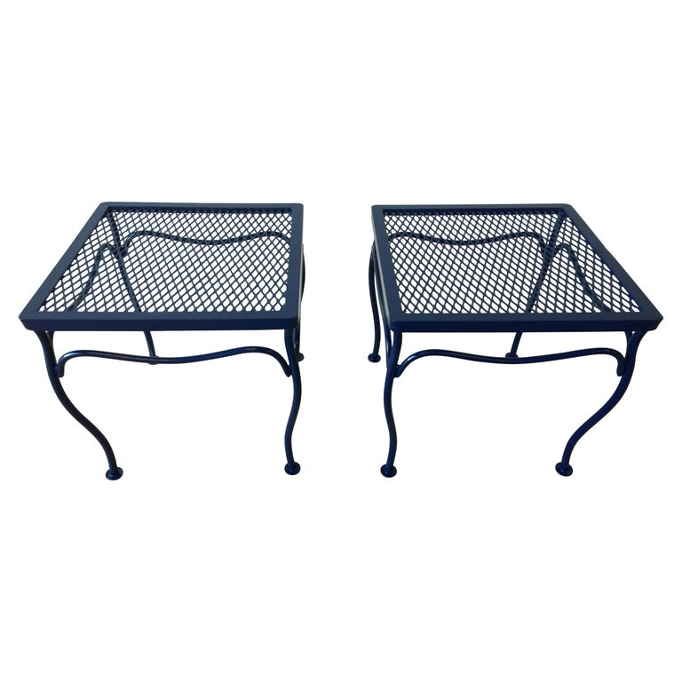 John Salterini Attributed Wrought Iron Enameled in Blue Patio/Garden Stools Pair For Sale