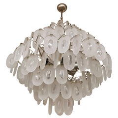 Attributed J. T. Kalmar Large Chandelier in Structured Glass