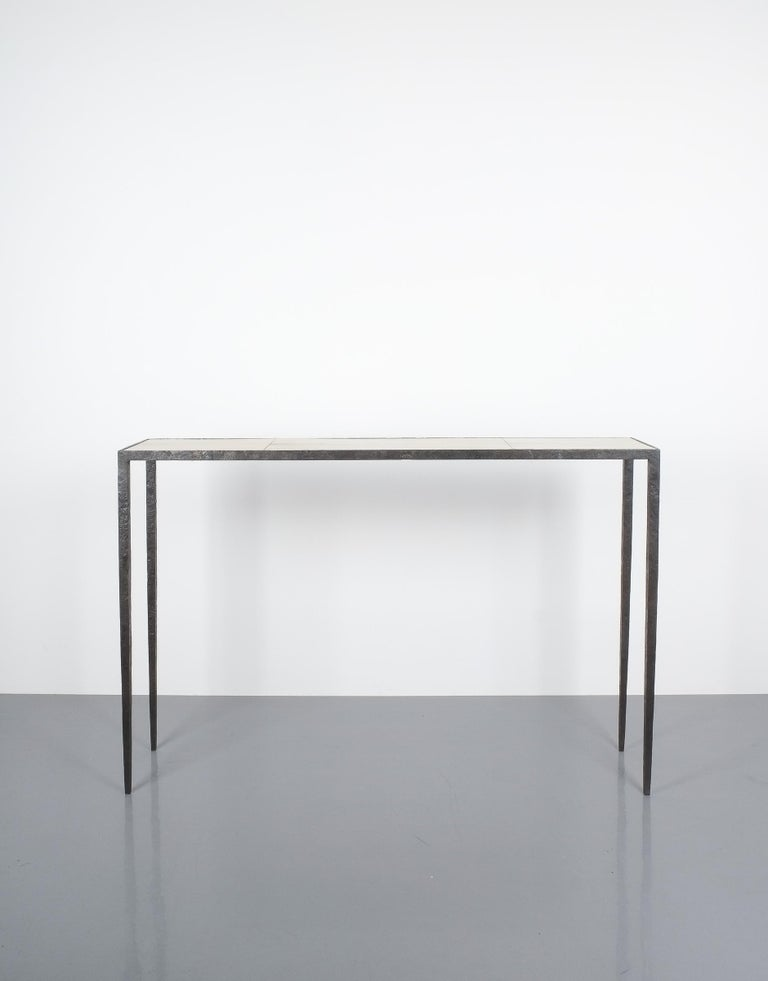 Art Deco Attributed Jean-Michel Frank Forged Wrought Iron Console Table, France