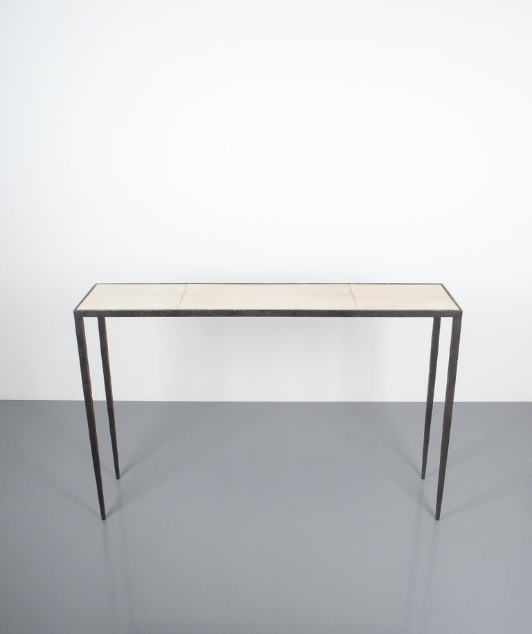French Attributed Jean-Michel Frank Forged Wrought Iron Console Table, France