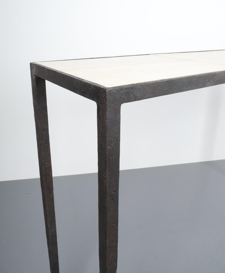 Attributed Jean-Michel Frank Forged Wrought Iron Console Table, France 2