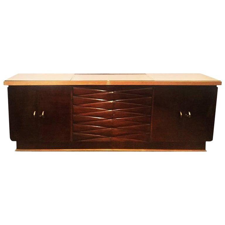 Attributed Osvaldo Borsani Sideboard Cabinet Wood Pink Glass Fontana Arte, 1930