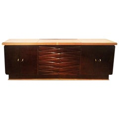 Attributed Osvaldo Borsani Sideboard Cabinet Wood Pink Glass Fontana Arte, 1930