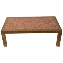 Coffee Table, Brass and Marble Red Verona Mid-Century Modern, Italy