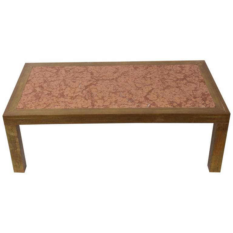 Verona Marble Coffee Table: Attributed Romeo Rega Coffee Table, Brass And Marble Mid