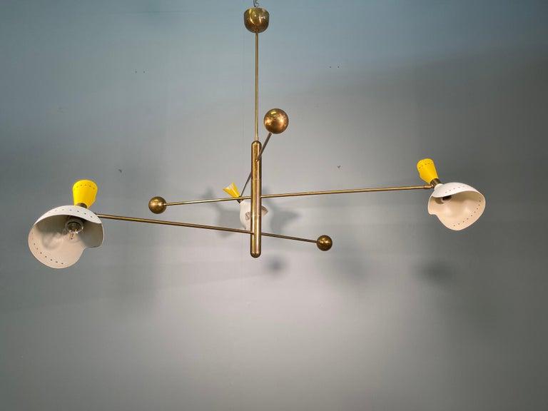 Attributed Stilnovo Midcentury Three-Arm Brass Italian Chandelier, 1960 For Sale 6