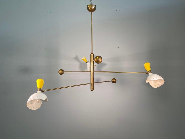 Attributed Stilnovo Midcentury Three-Arm Brass Italian Chandelier, 1960 For Sale 7