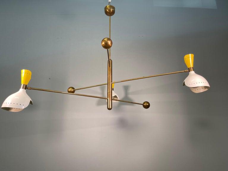 20th Century Attributed Stilnovo Midcentury Three-Arm Brass Italian Chandelier, 1960 For Sale