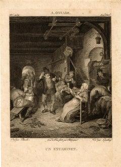 """Michal Plonski After Adriaen van Ostade """"UN ESTAMINET"""" Engraving 19th c."""