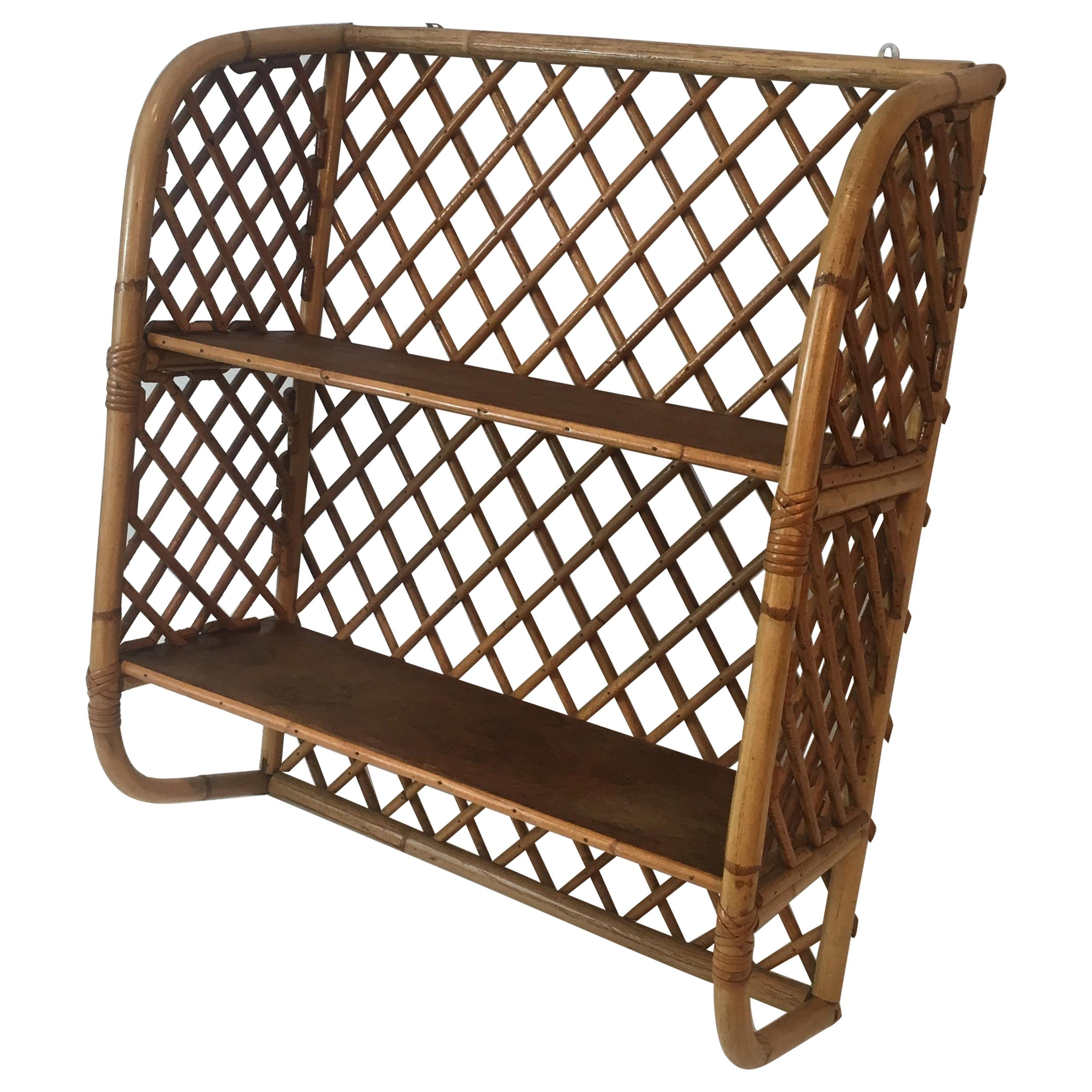 Attributed to Audoux Minet, Rattan and Wood Wall Shelves, French, circa 1950