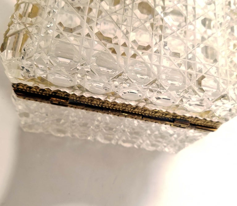 Attributed to Baccarat, Gilt Bronze Mounted Crystal Jewelry Box For Sale 5