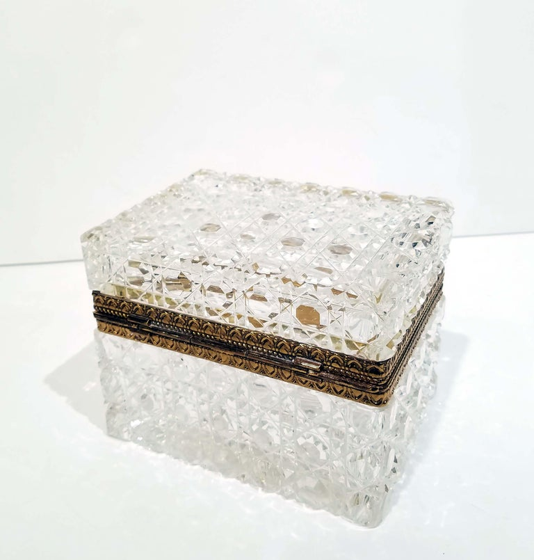 Belle Époque Attributed to Baccarat, Gilt Bronze Mounted Crystal Jewelry Box For Sale