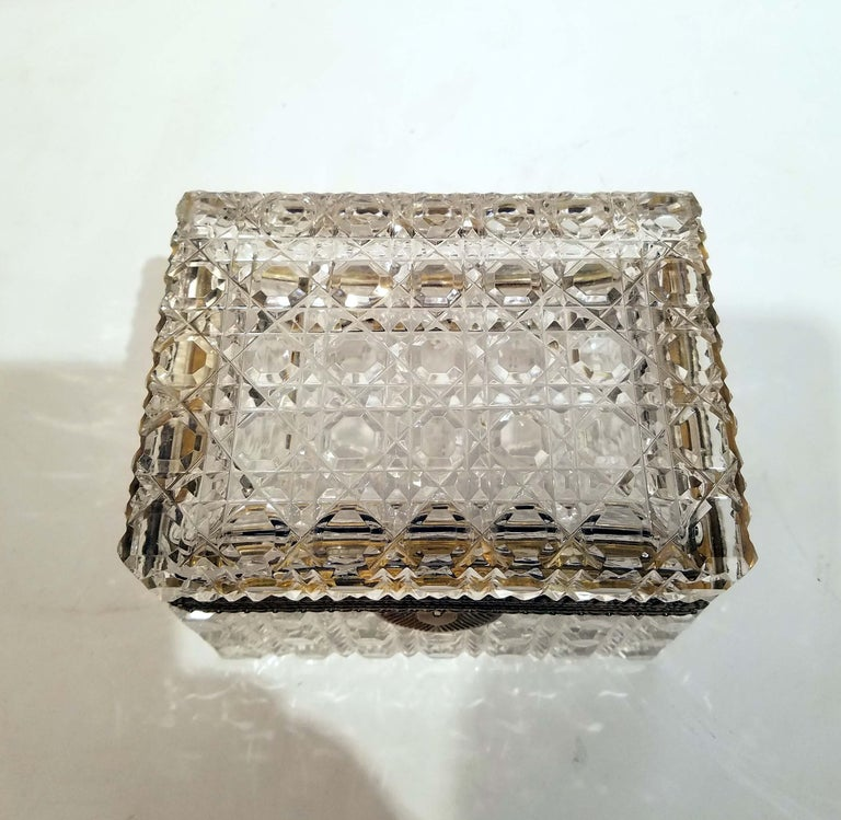 French Attributed to Baccarat, Gilt Bronze Mounted Crystal Jewelry Box For Sale