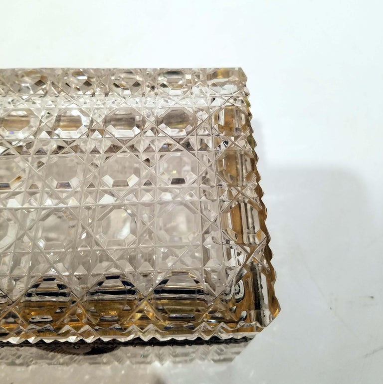 Carved Attributed to Baccarat, Gilt Bronze Mounted Crystal Jewelry Box For Sale
