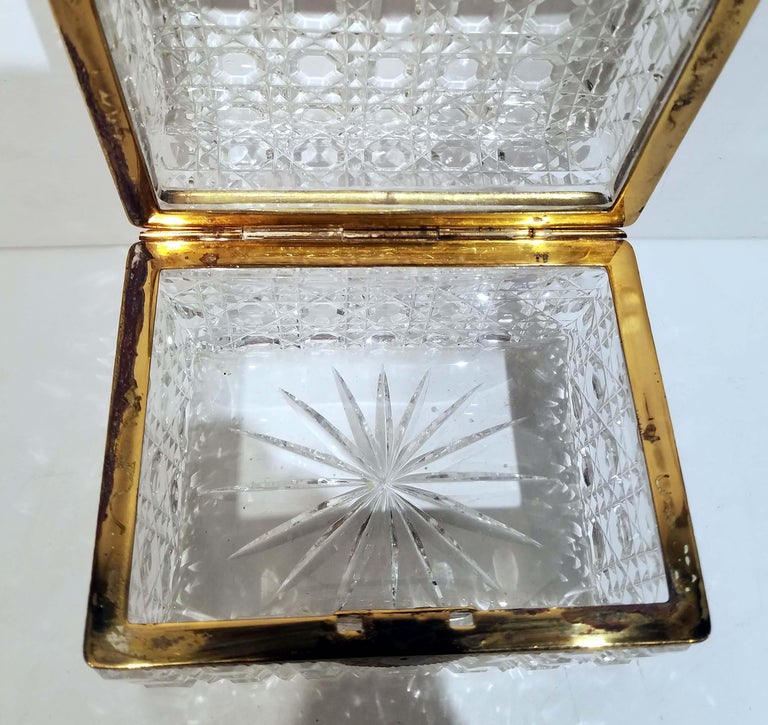 20th Century Attributed to Baccarat, Gilt Bronze Mounted Crystal Jewelry Box For Sale