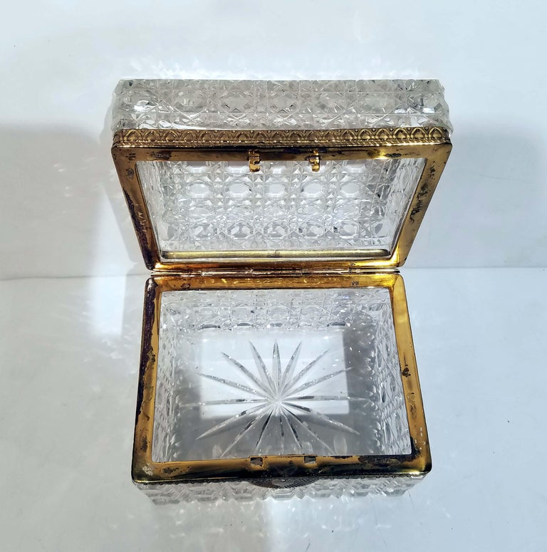 Attributed to Baccarat, Gilt Bronze Mounted Crystal Jewelry Box For Sale 1