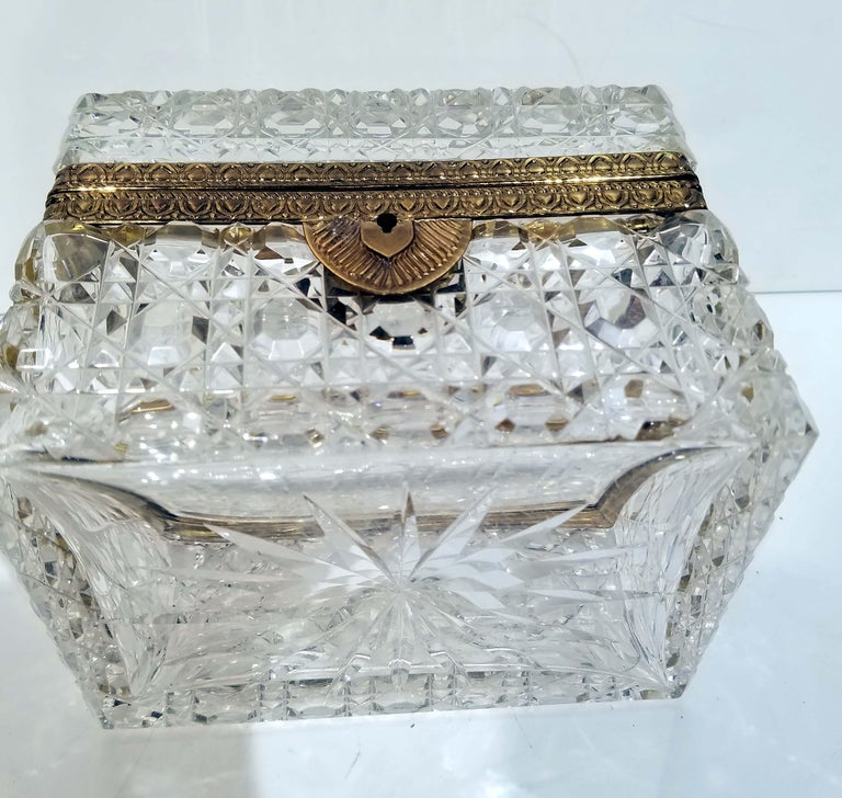 Attributed to Baccarat, Gilt Bronze Mounted Crystal Jewelry Box For Sale 2