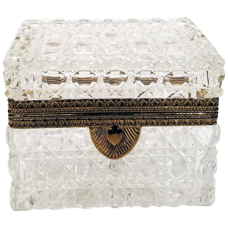 Attributed to Baccarat, Gilt Bronze Mounted Crystal Jewelry Box For Sale