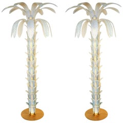 Attributed to Barovier, Opaline Palm Two Murano Glass Floor Lamps, 1990s