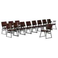 Attributed to B.B.P.R. Studio 12 Chairs Mid-Century Modern Curved Wood Steel