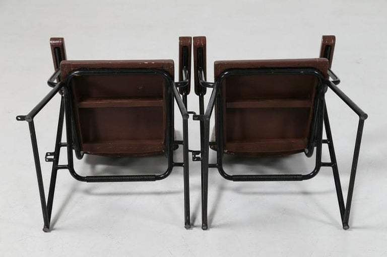 Italian Attributed to B.B.P.R. Studio Style 12 Chairs Mid-Century Modern Wood Steel For Sale