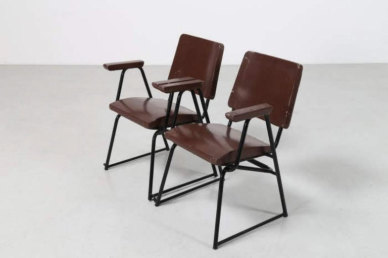 Attributed to B.B.P.R. Studio Style 12 Chairs Mid-Century Modern Wood Steel In Good Condition For Sale In Tuscany, IT