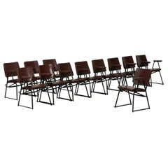 Attributed to B.B.P.R. Studio Style 12 Chairs Mid-Century Modern Wood Steel