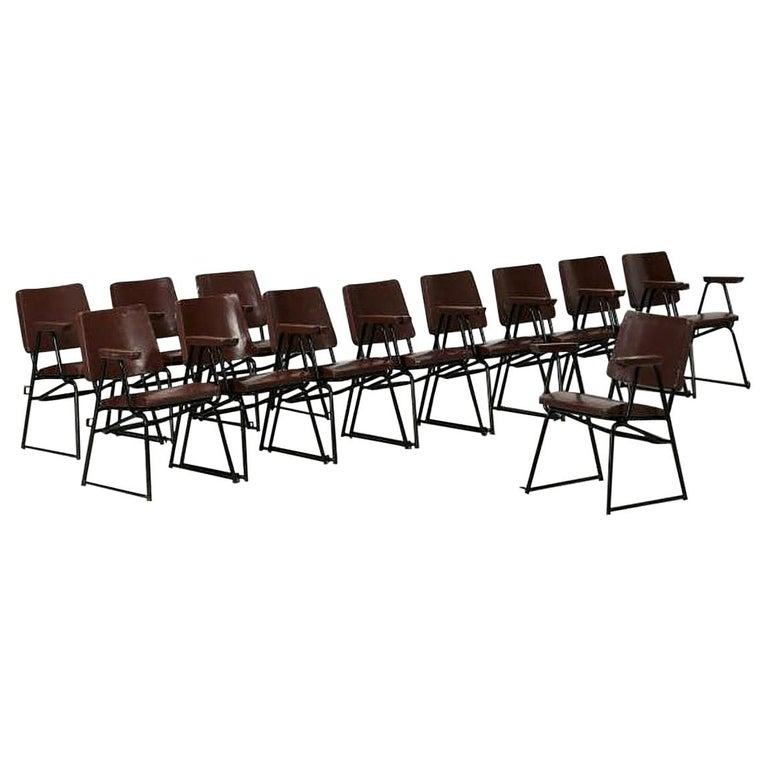 Attributed to B.B.P.R. Studio Style 12 Chairs Mid-Century Modern Wood Steel For Sale