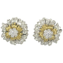 Attributed to Buccellati 18K Yellow and White Gold Diamond Flower Clip Earrings