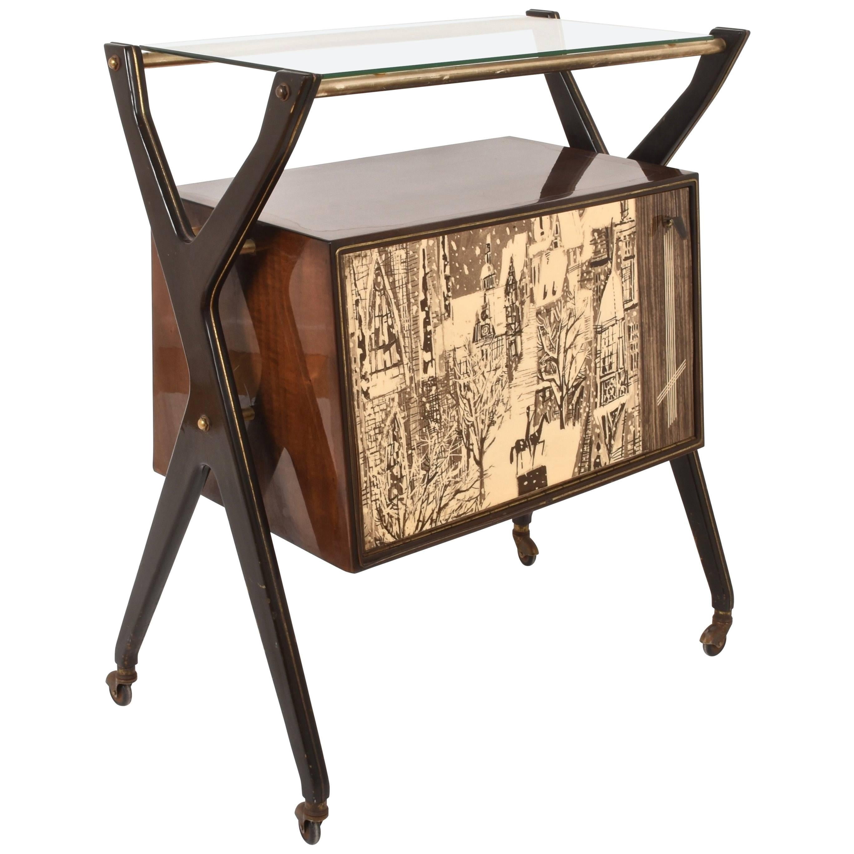 Attributed to Cesare Lacca Dry Bar Trolley, Italy, 1950s