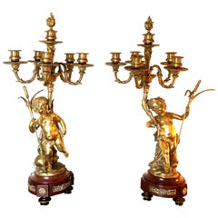 Attributed to Clodion Pair of Candelabra Ormolu and Red Marble with Putti