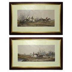 Attributed to Edith Anna OEnone Set Irish Fox Hunting Watercolors, 19th Century