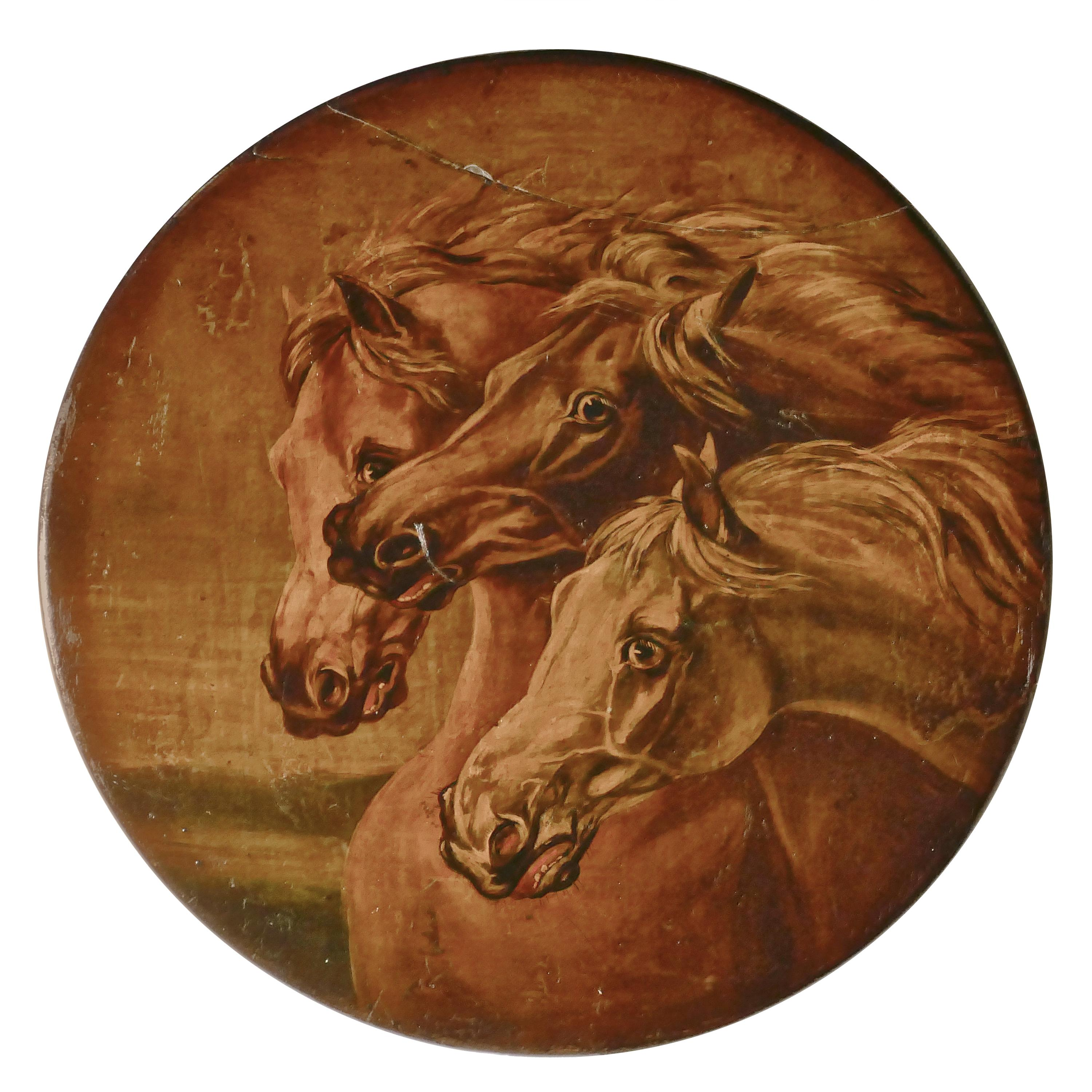 Attributed to Edwin Landseer Rare Oil Painting on Slate 'Fearful Horses'