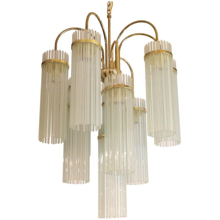 Attributed to Gaetano Sciolari for Lightolier 1960s Glass Rod Chandelier