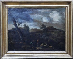 Arcadian Italian Landscape - Old Master 17thC French oil painting herdsman sheep