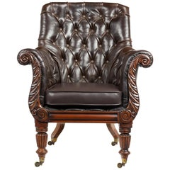 Attributed to Gillows Late George IV Early William IV Leather Library Chair