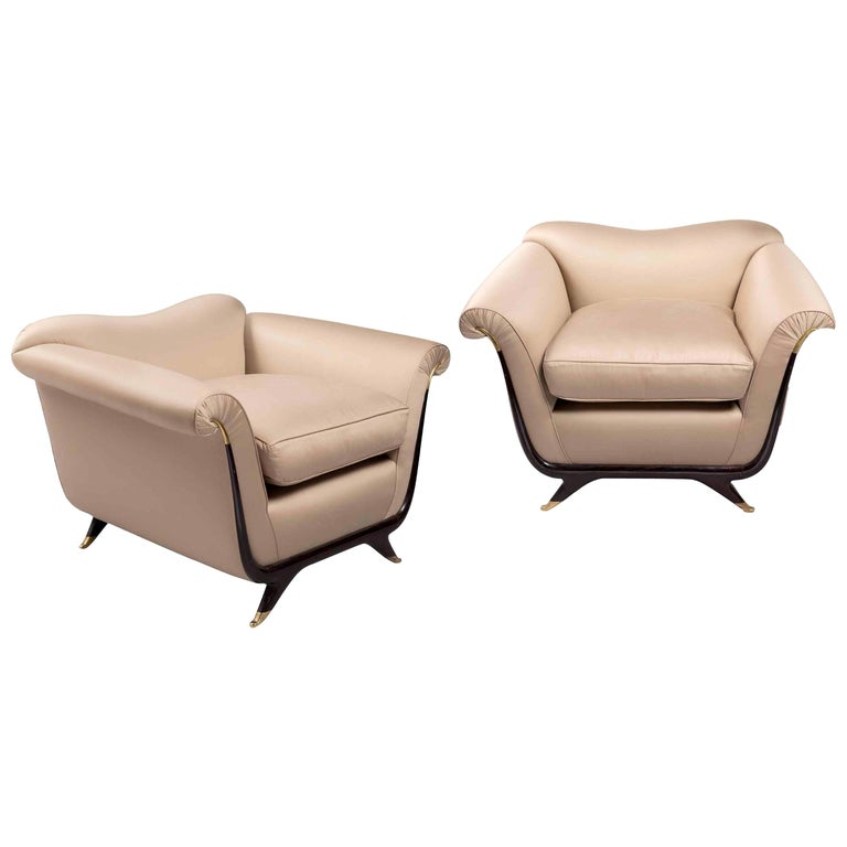 Attributed to Guglielmo Ulrich Pair of Armchairs in Silk, 1940s For Sale