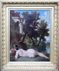 Old Master Dutch Female Nude Arcadian Landscape - 19th century art oil painting